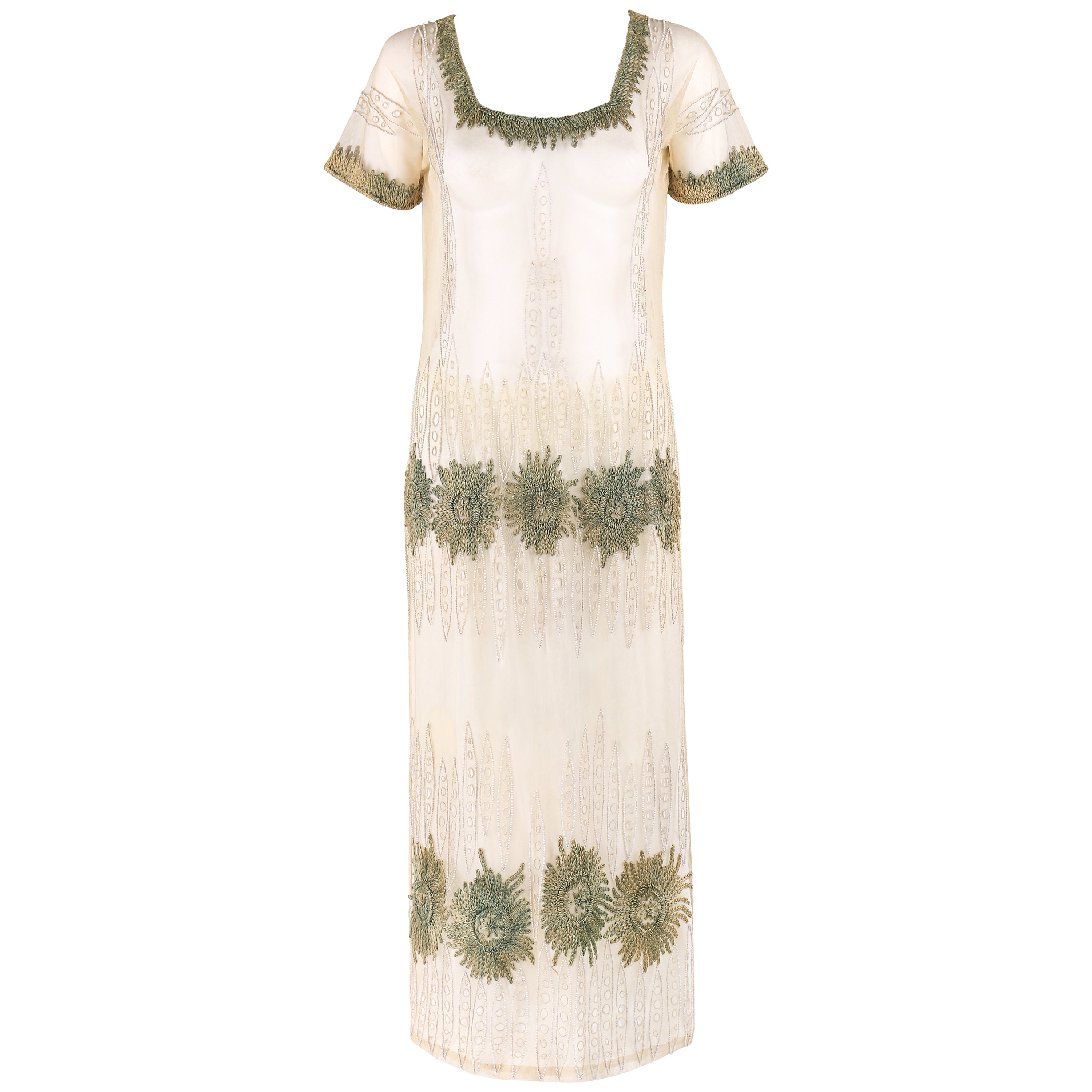COUTURE Edwardian c.1910's Ivory Floral Embroidered Beaded Mesh Tabard Overdress