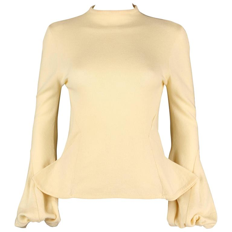 ALEXANDER McQUEEN c1998 Early Pale Yellow Wool Knit Balloon Cuff Sweater Size 44