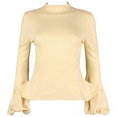 ALEXANDER McQUEEN c1998 Early Pale Yellow Wool Knit Balloon Cuff Sweater Size 44
