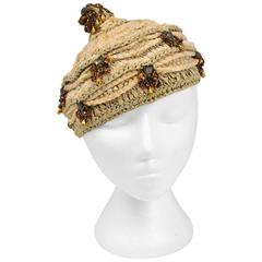 Vintage Gladys and Belle Neutral Metallic Ribbon Knit Hat.