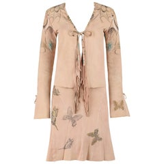 ROBERTO CAVALLI 2 Pc Tan Beige Suede Leather Butterfly Fringe Jacket Skirt XS S