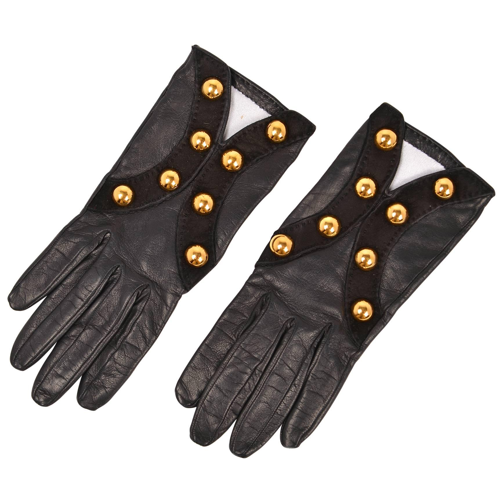 Hermes Paris Vintage Black Leather Gloves