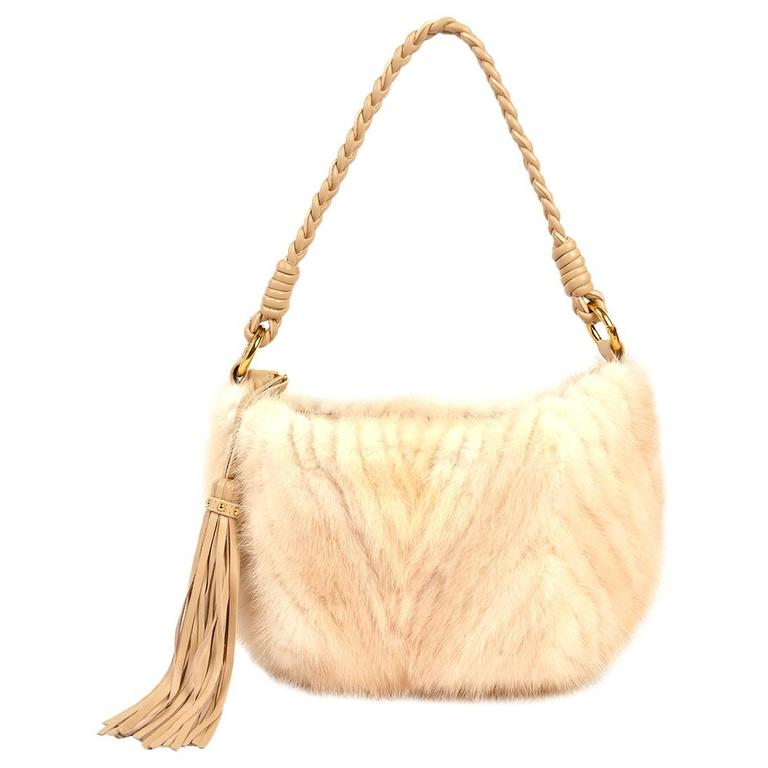 Paolo Masi White Mink And Leather Hobo Style Bag For