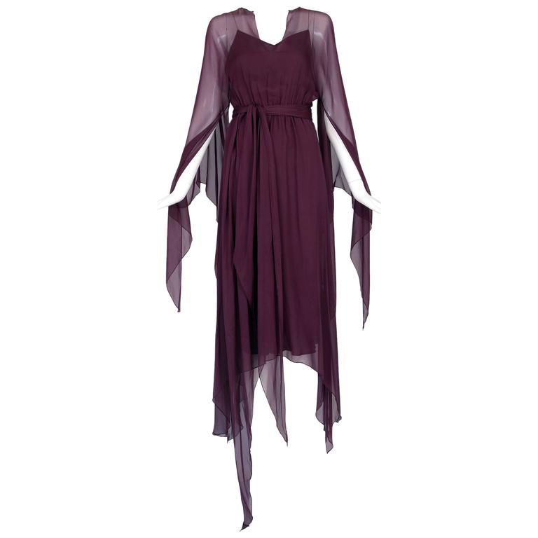 1970's Halston Burgundy Chiffon Double Layered Evening Dress