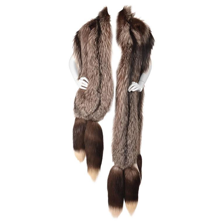 Oscar de la Renta Silver Fox Large Fling with Tails