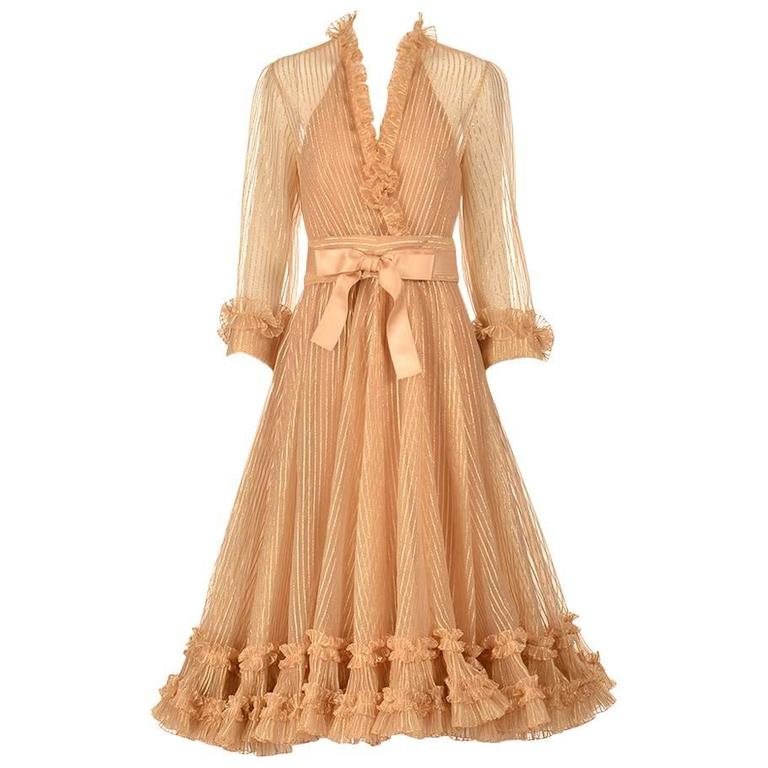 1973 Christian Dior Haute Couture Gold Cocktail Dress by Marc Bohan For Sale