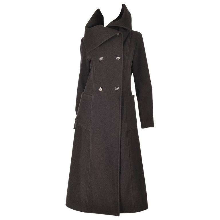 Ivan Grundahal Black Wool Large Collar Coat For Sale