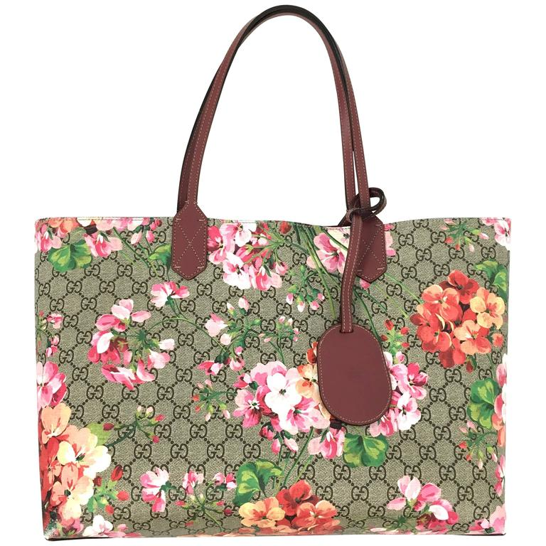 755d5bdec6d9 Gucci GG Blooms Medium Reversible Leather Tote Bag Multicolor Rose For Sale