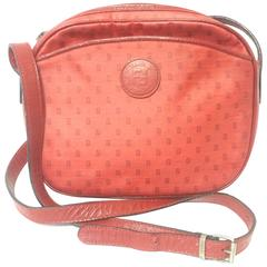 Vintage FENDI red oval round shape shoulder purse with small FF logo print