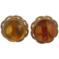 18Kt Gold Amber Earrings