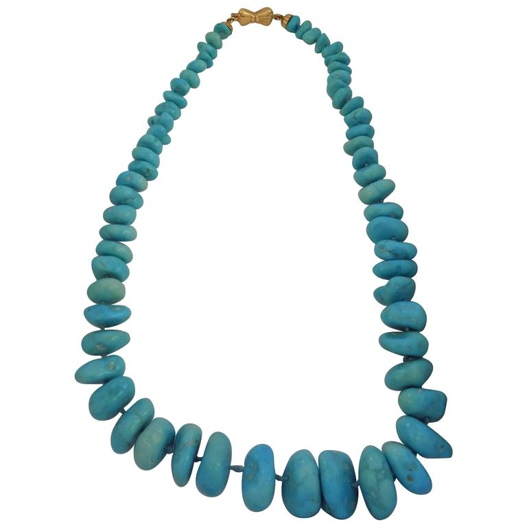 18kt Gold Turquoise Necklace For Sale