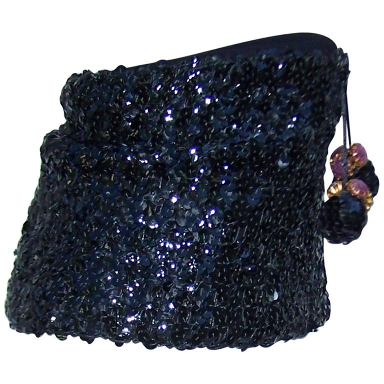 Glam 1940's Henry Pollak Black Sequin Turban Hat With Pom Poms For Sale
