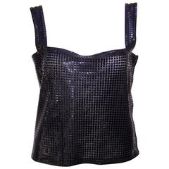 1980's Krizia Space Age Black Mesh Disco Top