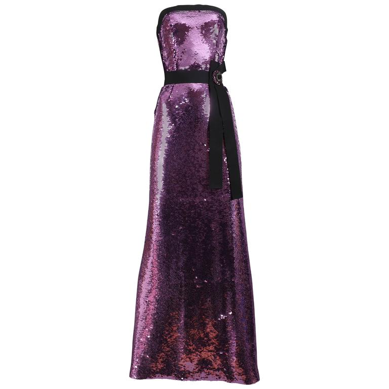 Dolce & Gabbana strapless sequinned evening gown, circa 2000s
