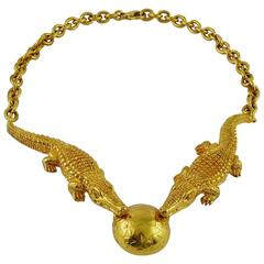 Celine Vintage Rare 1991 Gold Plated Crocodile Necklace
