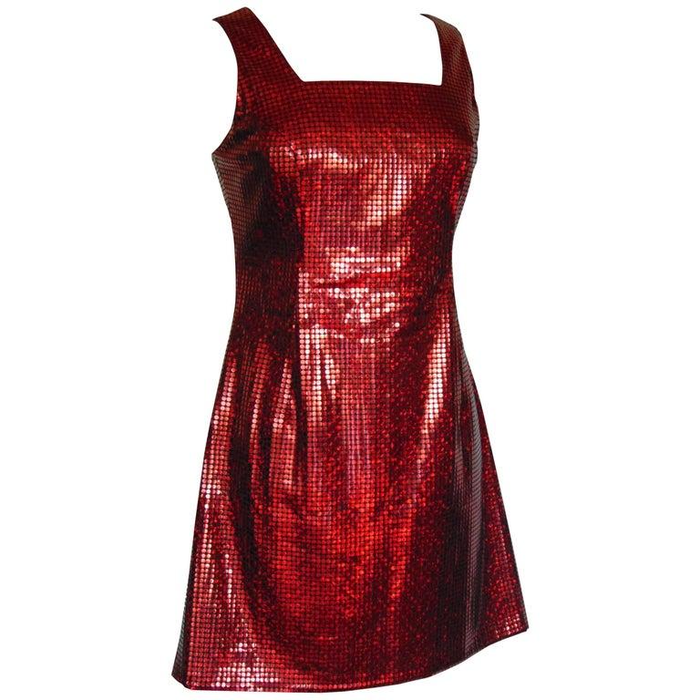 Vintage Versace Red Jumper Dress with Large Sequins For Sale