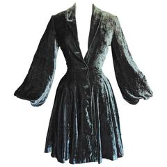 Norma Kamali Steel Grey Silk Velvet Jacket with Bishop Sleeves New Old Stock S