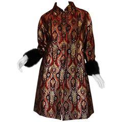 Spectacular 1960s Gold & Red Silk Brocade Christian Dior Coat