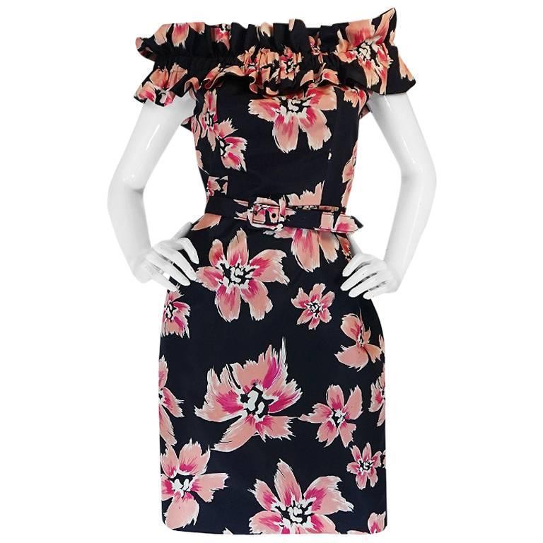 1980s Christian Dior Off Shoulder Floral Print Dress 1
