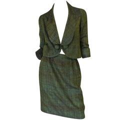 Early 1960s Pierre Cardin for Takashimaya Green Silk Suit
