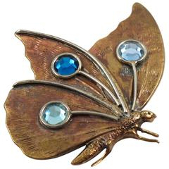 Fabrice Paris Signed Pin Brooch Copper Butterfly with Blue Rhinestone