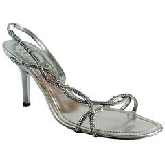Rene Caovilla Silver Rhinestone Sandals-37