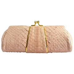 Judith Leiber Pink Snakeskin Handbag-GHW