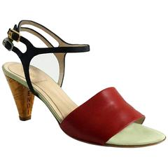 Fendi Black and Red Ankle Strap Sandal w/ Laquer Cork Heel-36.5