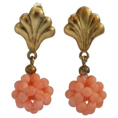 Silver Pink Coral Pendant Earrings