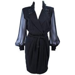 LIAN CARLO Black Sequin Chiffon Sheer Sleeve Cocktail Dress Size 8