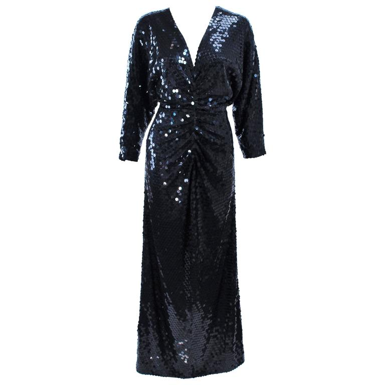 OLEG CASSINI Black Sequin Draped Gown with Dolman Sleeve Size 10 For Sale