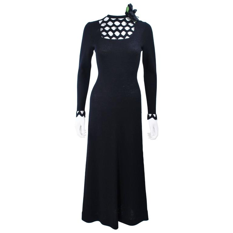 ADOLFO 1970's Black Knit Maxi Gown with Cut Out Detail Size 8 10