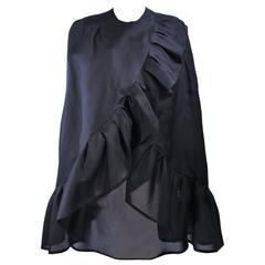 ANDRE LAUG ITALY Black Silk Ruffle Evening Cape