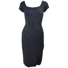 CEIL CHAPMAN 1960's Black Hand Beaded Silk Cocktail Dress with Drape Size 4