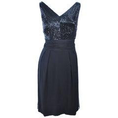Vintage 1960's Black Beaded Silk Chiffon Cocktail Dress Size 6