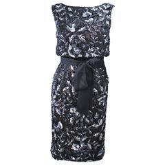 Vintage 1960's Black and Silver Hand Embellished Floral Cocktail Dress Size 2