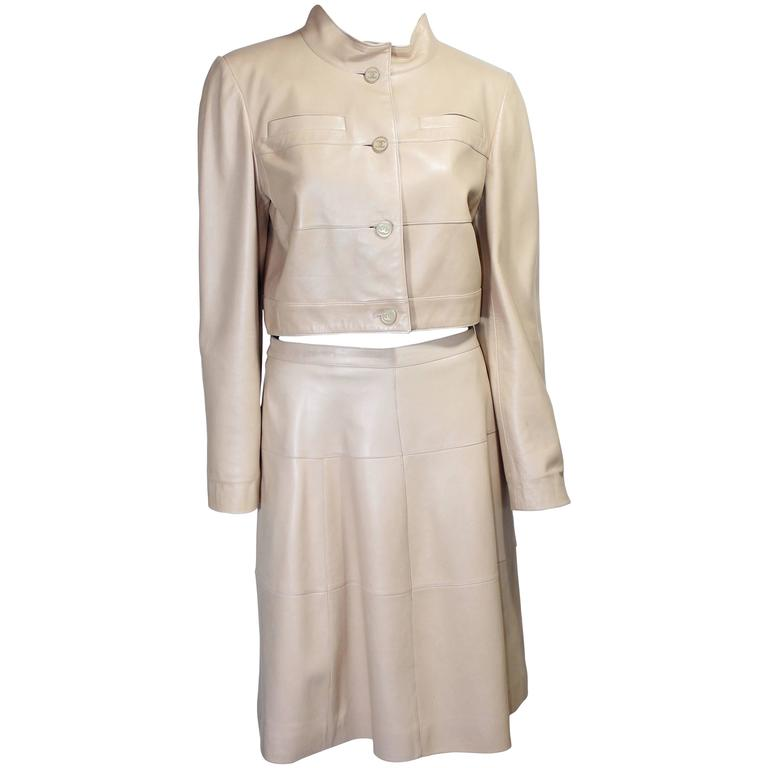 Chanel 2001A Camel Leather Skirt Suit