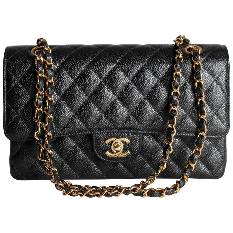 Chanel 2.55 Caviar Medium Classic Double Flap Bag - black/gold For Sale