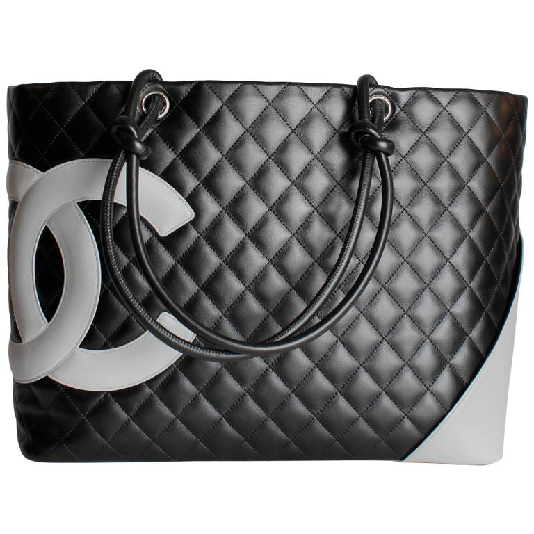 5fb8958877e669 Chanel Ligne Cambon Quilted Extra Large Tote - grey/black leather For Sale