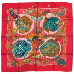 Hermes Grand Fonds Fuchsia Silk Carre by Annie Faivre- Excellent Condition