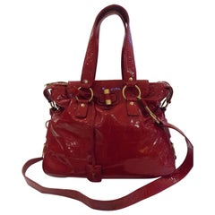 Yves Saint Laurent Red Varnish Leather Bag