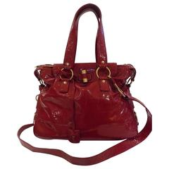 Yves Saint Laurent Red Varnish Leather Bag