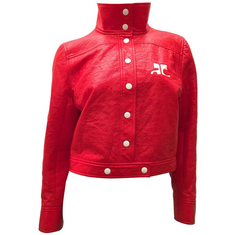 New Courreges Jacket - Orange / Red Patent Leather