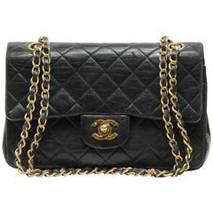 Iconic Chanel Small Flap Bag Black Lambskin Leather Matelasse Vintage 1980s