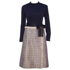 C.1970 Chester Weinberg Glam Gold Houndstooth & Black Jersey Dress