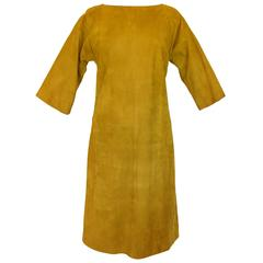 Bonnie Cashin for Sills Gold Suede Kimono Dress Eastern Influence 1960s