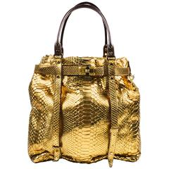 "Lanvin New With Tag Metallic Gold Python Leather Trim ""Kansas"" Tote Bag"