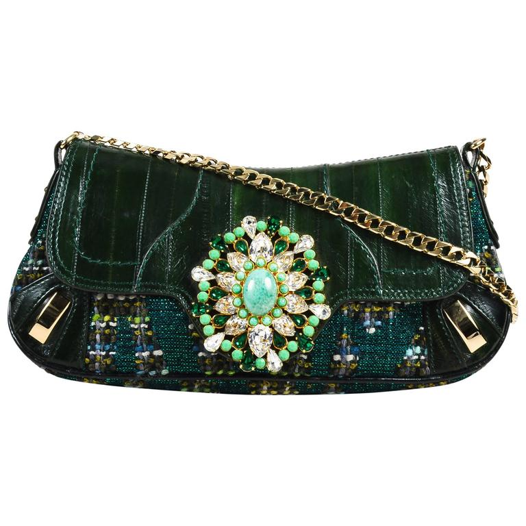 Dolce And Gabbana Dark Green Eel Skin Tweed Embellished