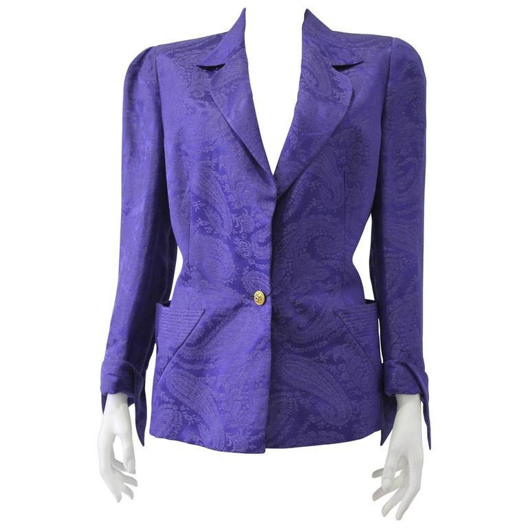 Important Gianni Versace Lachouri Silk Jacket With Triangle Pockets