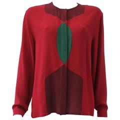 Gianni Versace Red Silk Shirt